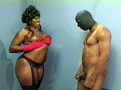 Busty black BBW getting fucked by a masked man. Chocolate, watch free porn video.