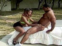An ebony couple fucking like wildcats..
