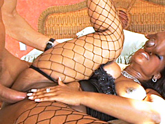 Black babe fucked big time by two big cocks