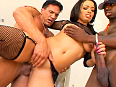 Interracial 2-on-1 action video clips..