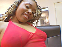 Blonde Vivica J Cox riding big and..