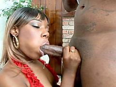 Black slut is gets fucked and gets a juicy load. Tya