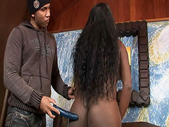 Black Latina shemale Pamela gets nasty with a toy