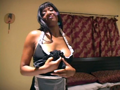 Busty ebony maid receive fuck too
