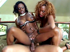 Busty black pornstars Jada Fire and Angel Eyes shared one hard big dick