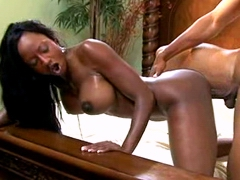 Diamond Jackson moans with each deep thrust and showing off her chocolate skin and her huge big..