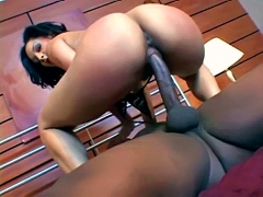 Charming ebony chick Jasmine Cashmere rides very big ebony..