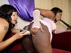 Two massive ebony BBWs pleasure each..