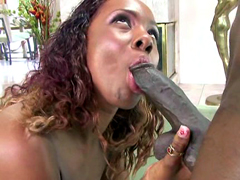 Curly haired ebony cutie stroking and..