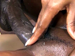 Curvy ebony model Angel Eyes takes fat ebony rod in her..