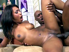 Cute ebony Rayne just screaming but adores feeling big cock in her pussy