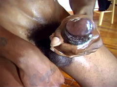 Ebony boy Ayo jerking his great wang for cum