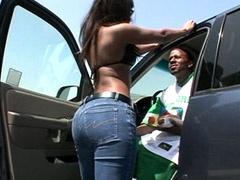 Ebony hooker rides ebony big cock..