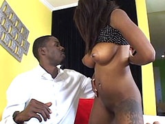 Ebony tute getting pounted by big..