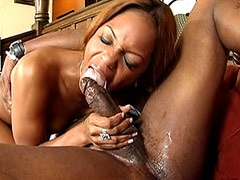 Petite ebony whore giving hard blowjob..