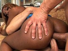 Ebony babe has double penetration in..