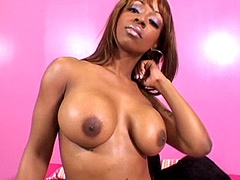 Horny ebony babe sucking black cock..