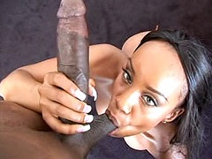 Pretty ebony babe gets gigantic black cock in pussy for facial cumshot