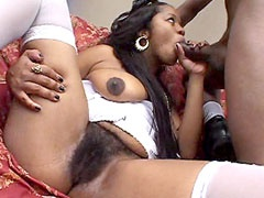 Hairy african babe in white stockings gets hard anal fuck