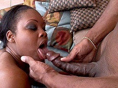 Ebony tute gets hard ebony dped in..
