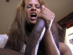 Ebony tute in black stockings banged by 24 inch cock