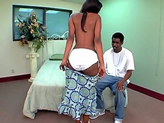 Petite ebony teen tempts niggas dong by big panties