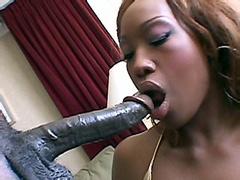 Ebony chick take huge black cock on soft chair