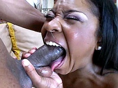 Horny ebony chick gets huge nigga dick..