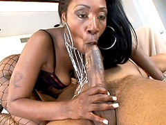 Hot ebony slut sucks black cock and has fuck hot ass