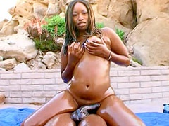 Ebony babe suck 20 inch black cock then get banged all holes
