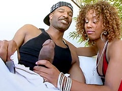 Redhead ebony babe gives blowjob and gets huge black dick in shaved pussy