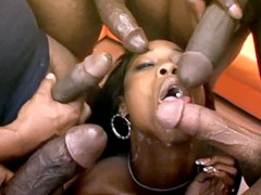 African babe in gangbang orgy suck cocks has ass fuck and..