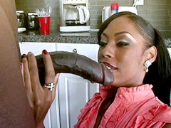 Beauty ebony lady babe suck gigantic black cock and eat cum on kitchen