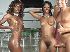 Two ebony chiks gives wild blowjob to..