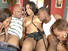 Two hot ebony chiks getting fucked in..