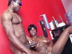 Busty african babe sucks nigga dick..