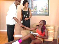 Two sexual ebony babes drilled by huge..