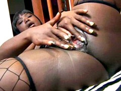 Ebony honey gives blowjob to big black rod and penetrated
