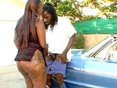 Hot ebony whore blowing and riding Byron Long's big black dick in car