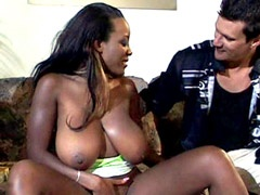 Big tits ebony drilled in all holes and gets facial cum..