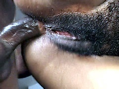 Hairy ebony chick sucking and riding..