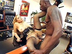 Ebony babe banged by big african..