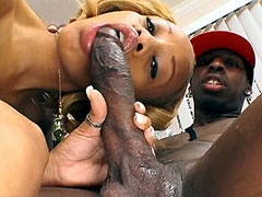 Melrose Foxxx sucking and riding large nigga dick for..
