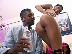 Ebony brags her magnificent booty and then gets pussy drills