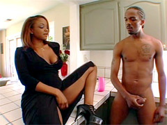 Beauty ebony mom Sinnamon Love takes young stud
