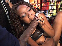 Ebony babe giving blowjob and riding 24 inch black cock