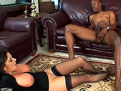 Ebony babe with gigantic boobs gets..