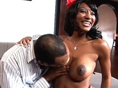 Big boobs ebony babe gets big niggas..