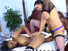 Ebony lesbians kissing and fucking..