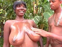 Big boobs ebony babe sucking big black cock and having hard cunt fuck
